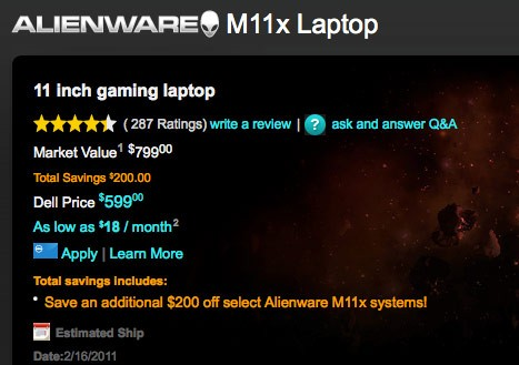 Alienware M11x for just $599 in limited time