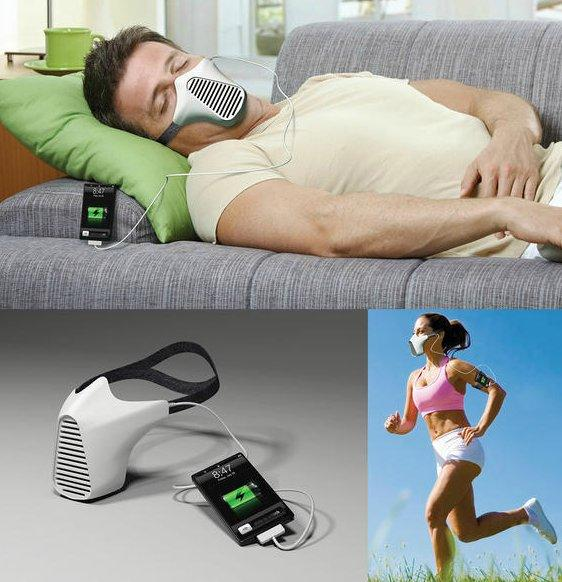 AIRE mask concept, charges iPhone with your breath